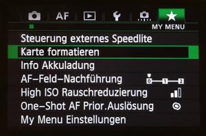 """Screenshot_Canon_EOS_Menü_Karte_formatieren Alt=""""Datensicherung"""""""